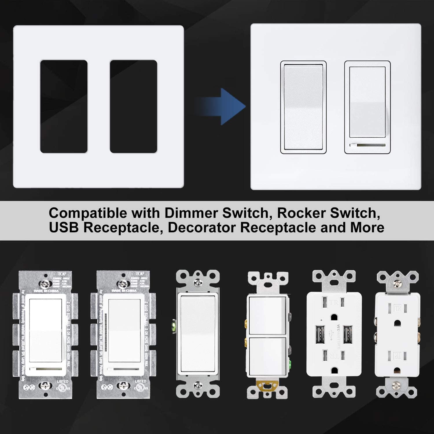 """[5 Pack] BESTTEN 2-Gang Screwless Wall Plate, USWP6 Snow White Series, Decorator Outlet Cover, 4.69"""" x 4.73"""", for Light Switch, Dimmer, GFCI, USB Receptacle, UL Listed - -"""