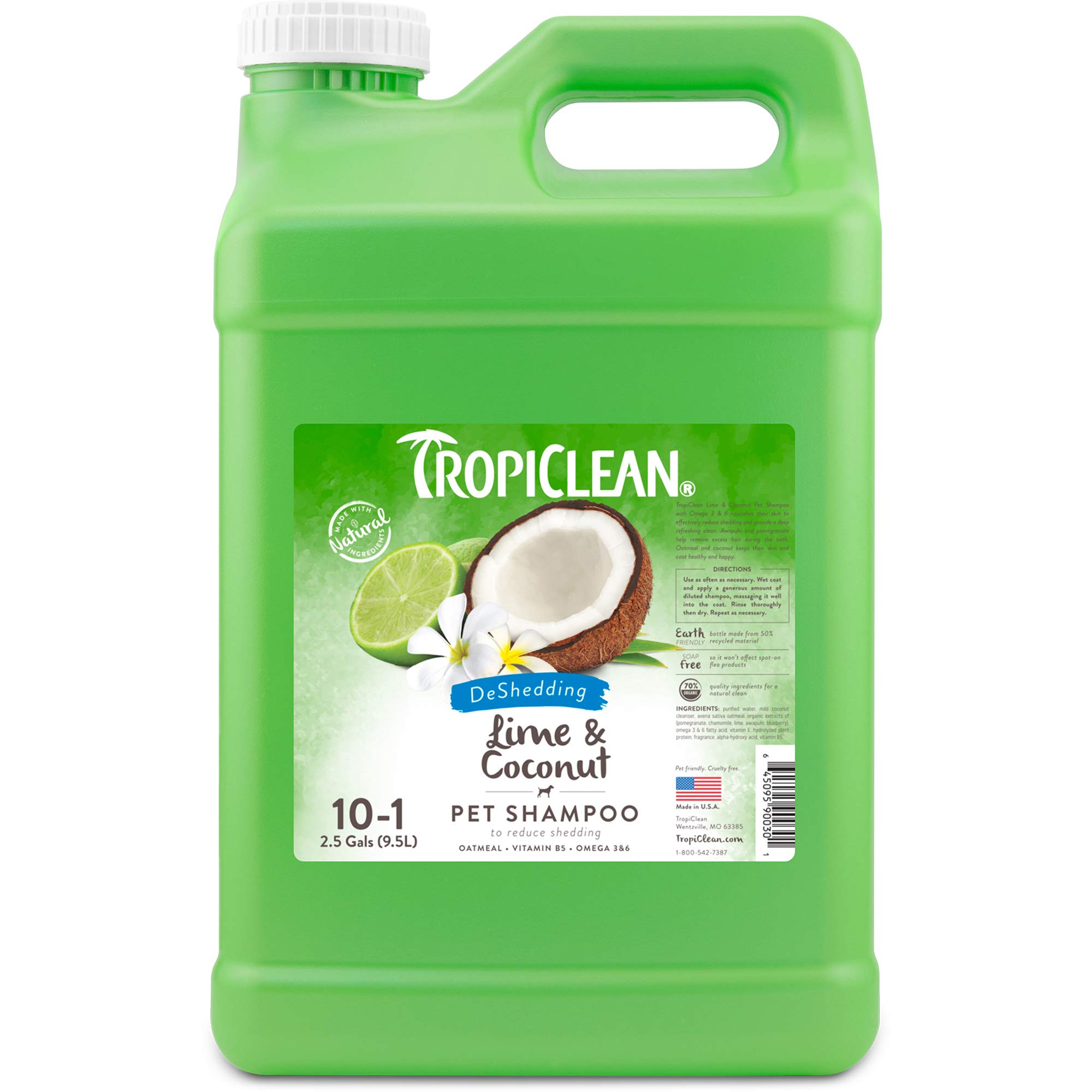 TropiClean Lime and Coconut Shed Control Shampoo for Pets, 2.5 gal, Made in USA