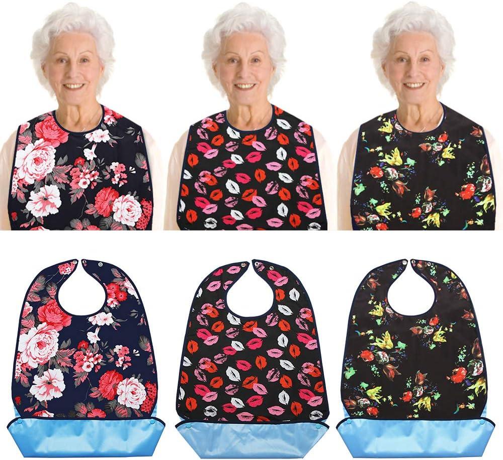 Vlokup Adult Bibs for Eating Women & Men, 3 Pack, Waterproof Mealtime Clothing Protector for Elderly, Optional Crumb Catcher, Adjustable Snaps, Reuasale Washable, Rose & Lips