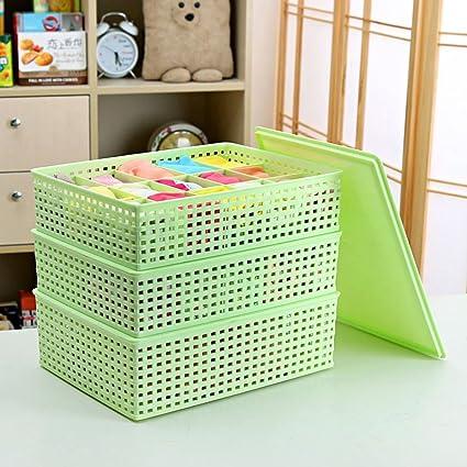 Tres piezas de plástico Conjuntos De con la ropa interior cubierto caja de almacenamiento, cuatro