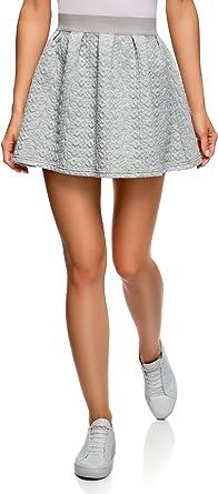 oodji Ultra Mujer Falda de Tejido Texturizado con Cinturón Elástico ...