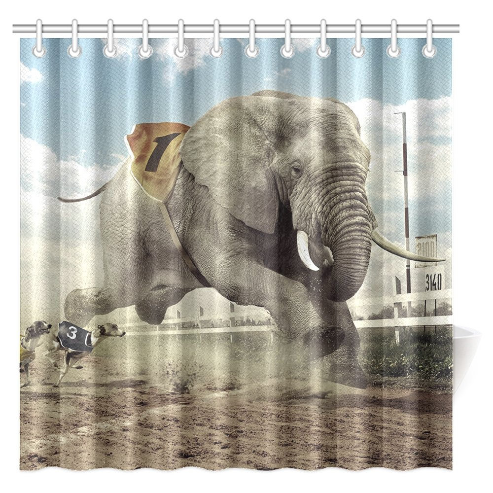 CTIGERS Animal Theme Shower Curtain for Kids The Race of Elephant and Dogs Polyester Fabric Bathroom Decoration 72 x 72 Inch