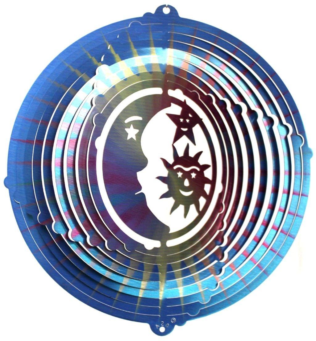 MultiBurst//Printed 12 Sun-Moon-Star Stainless Steel Wind Spinner