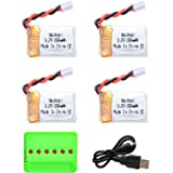 Noiposi 4pcs 3.7v 150mAH Lipo Battery with 6 in 1 Charger for JJRC H36 Eachine E010 GoolRC T36 NIHUI NH010 drone