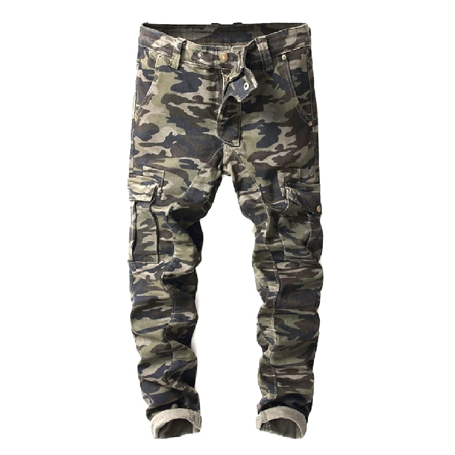 d45d8b15bb1b Abetteric Men Individuality Racer Camo Patched with Pockets Long Pants