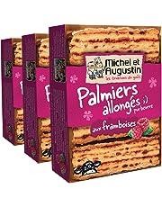 Michel et Augustin - Biscuits Palmiers Allongés Framboises - 120g Lot de 3