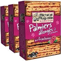 Michel et Augustin Biscuits Palmiers Allongés Framboises 120 g - Lot de 3