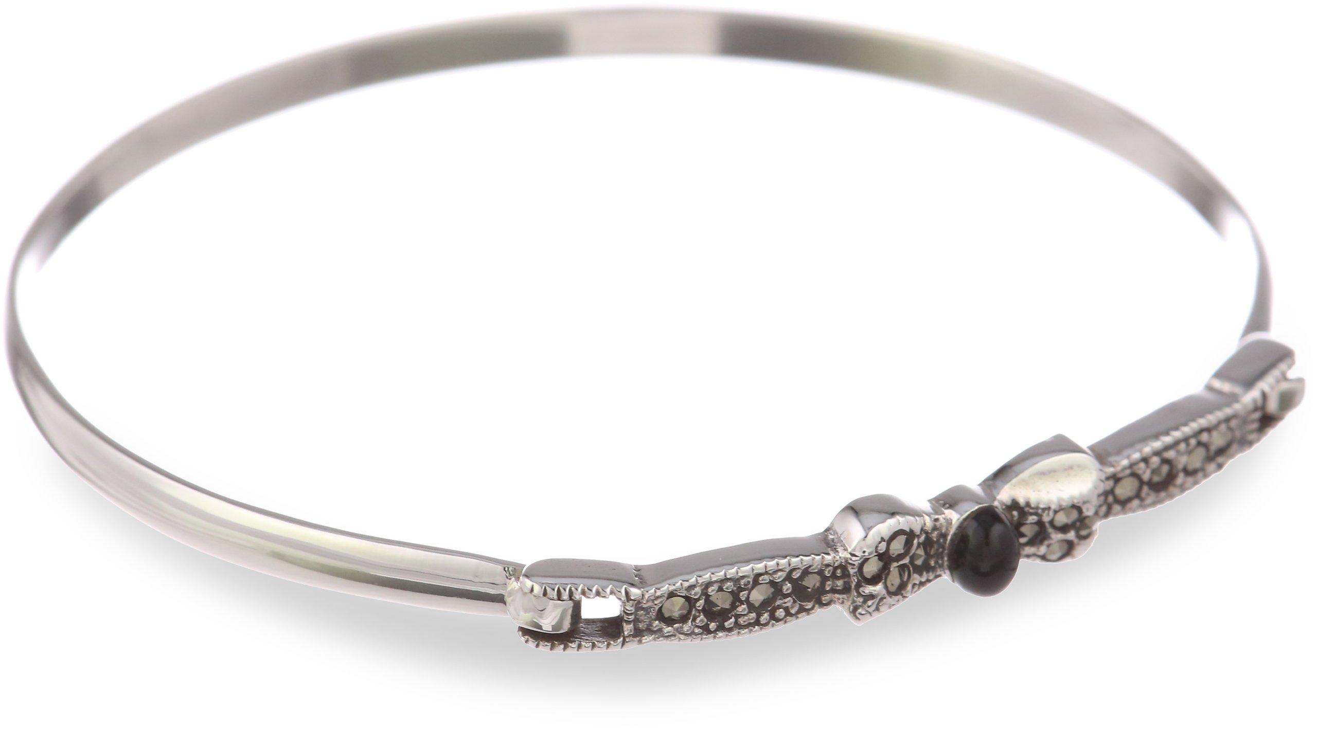 Sterling silver Marcasite Bow Design Bracelet, 7''