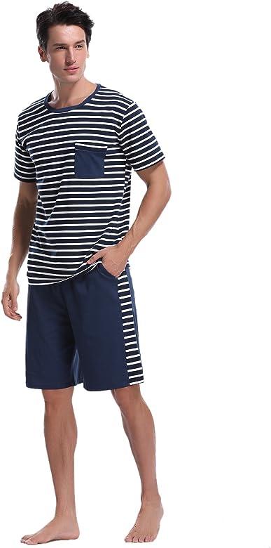 iClosam Pijama Hombre Verano Corto Set, Pijama Manga Cortos Raya, Conjunto de Pijama Camiseta y Pantalones Moda Comodo Ropa de Dormir para Hombre: Amazon.es: Ropa y accesorios