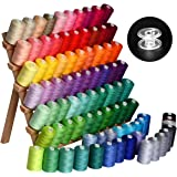 LE PAON 85rolls (85000Y) Sewing Thread Spools Finest Quality Sewing All 100% long stapled cotton Pure Cotton Thread Plastic Sewing Bobbins Transparent 85 Pieces Embroidery machine embroidery thread