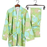 41c83ca640 Women s Japanese Style Long Sleeves Robes Cotton Kimono Pajamas Suit  Dressing Gown Set-Green