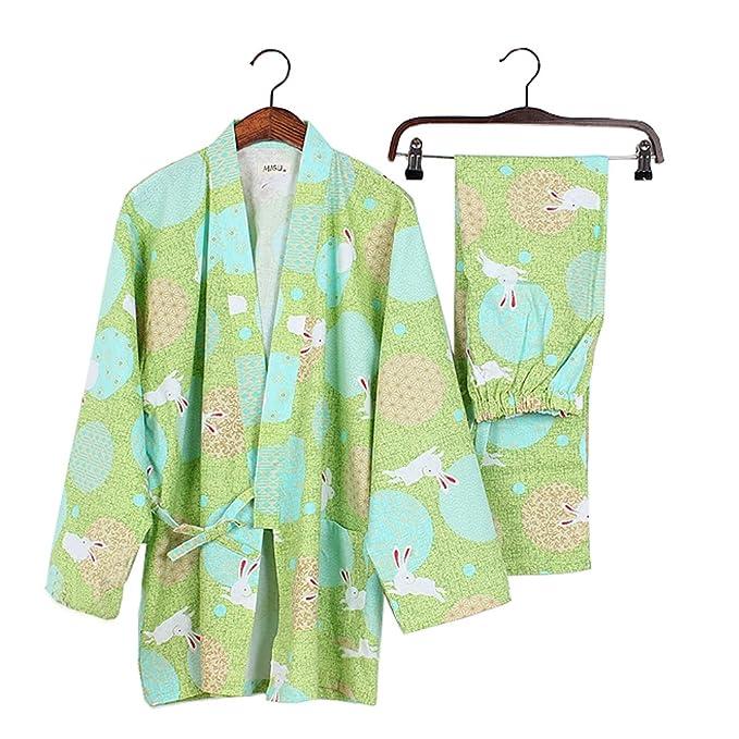 Fancy Pumpkin Estilo japonés de Manga Larga Mangas de algodón Kimono Pijama Traje de Vestir Conjunto