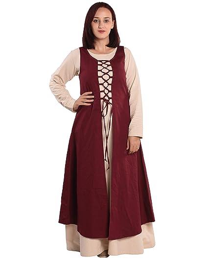 f5ca28651e Amazon.com  byCalvina - Calvina Costumes Leandra Medieval Viking LARP  Pirate Renaissance Dress Overdress - Made in Turkey  Clothing