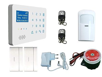 ECTECH Sistema de Alarma GSM Inalámbrica, LCD Pantalla Touch Teclados Sistema de Seguridad SMS móvil para el Hogar, Oficina, Tienda
