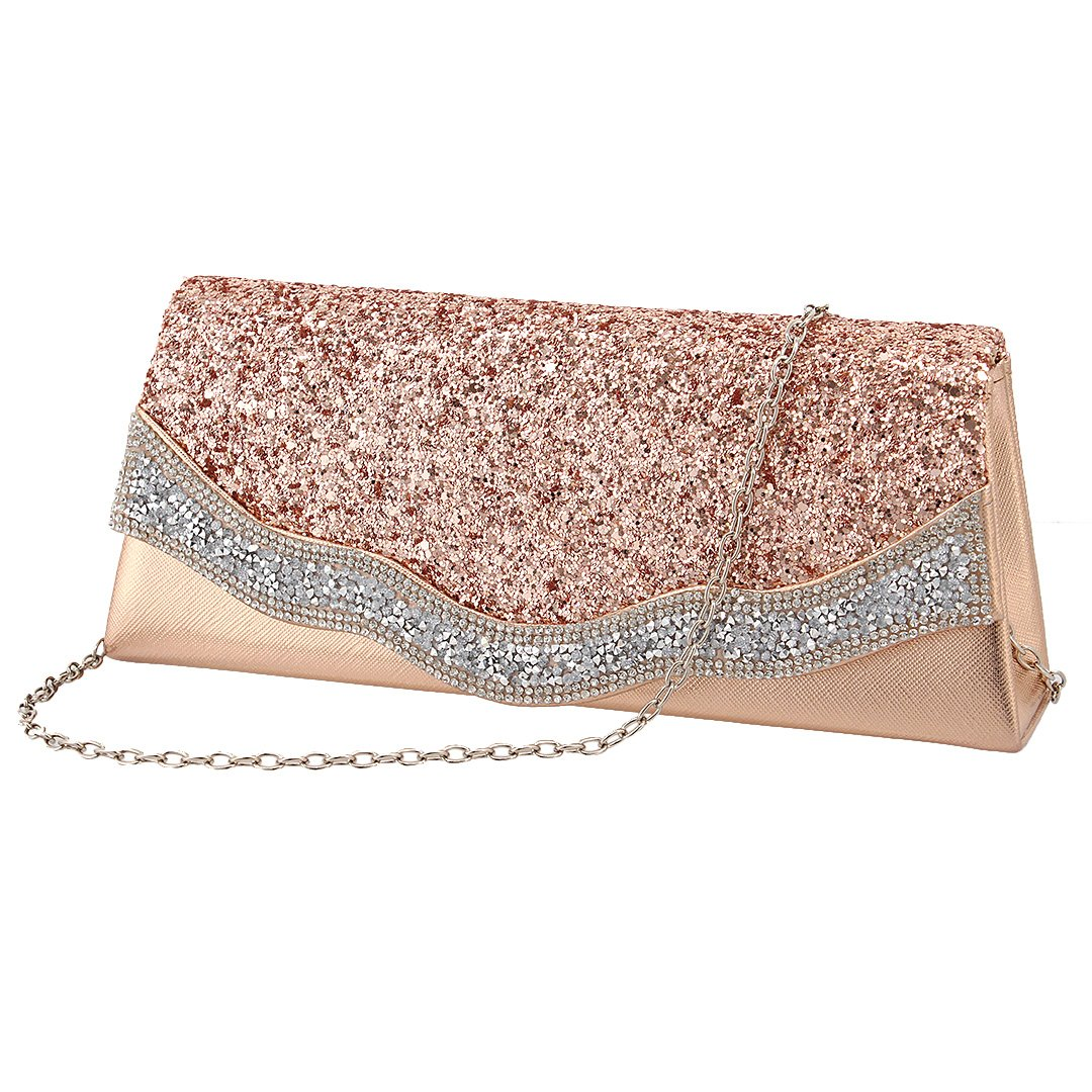 Naimo Flap Dazzling Small Clutch Bag Evening Bag With Detachable Chain