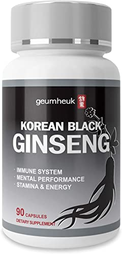 GeumHeuk Korean Black Panax Ginseng Capsule 1000mg Supplement