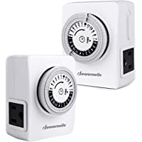 DEWENWILS 2 Pack Indoor Mechanical Light Timer, 24 Hour Programmable Plug In Timer Switch for Electrical Outlets with 2 Grounded Outlets, 15 Amp, ETL Listed