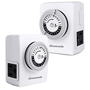 DEWENWILS 2 Pack 24-Hour Heavy Duty Indoor Plug-in Mechanical Indoor Timer, Programmable Light Switch with 2 Grounded Outlets for Lamps, Seasonal, Christmas Tree Lights 15 Amp, 1/2 HP ETL Listed