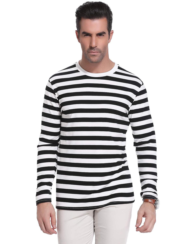 T-Shirt a Righe con Strisce Crew Neck a Maniche Lunghe Sykooria Maglia Lunga Uomo