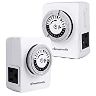 Dewenwils 2 Pack Indoor Mechanical Outlet Timer, 24 Hour Programmable Plug In Light Timer Switch for Electrical Outlets with 2 Grounded Outlets, 15 Amp, ETL Listed