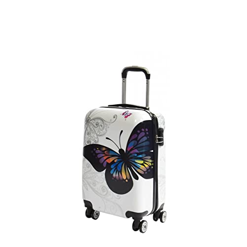 Four Wheel Travel Suitcase White Butterfly Print ABS Hardshell Luggage Lightweight Spinner (CABIN | 32x53x21CM/ 2.56KG)