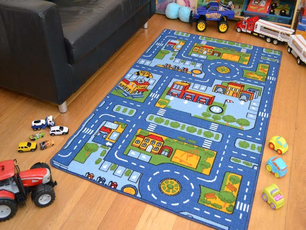 Rugs Supermarket Kids Non Slip Machine Washable Blue Roads Play Mat. Available in 4 Sizes (80cm x 120cm)