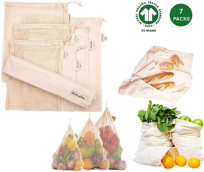 Servicio pesado, doble costura con etiqueta de peso Tara - Bolsas de supermercado de algodón orgánico para la compra de residuos cero (7, 3Muselina; 3Malla;1Envolver): Amazon.es: Juguetes y juegos