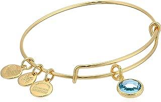 product image for Alex and Ani Women's Swarovski Color Code Bangle March Aquamarine Bracelet, Shiny Gold,Expandable