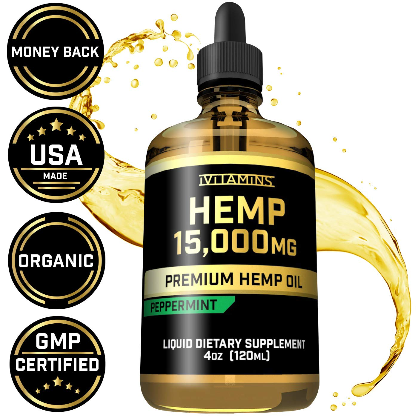 Hemp Oil Drops for Pain & Anxiety - 15,000mg - May Help with Stress, Inflammation, Pain, Sleep, Anxiety, Depression, Nausea + More - Zero THC CBD Cannabidoil - Rich in Omega 3,6,9 (Peppermint)