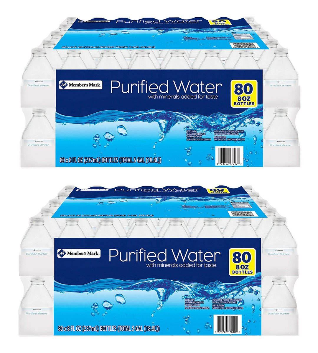 Member's Mark ZVUG Purified Water, 2 Cases of 80 Count