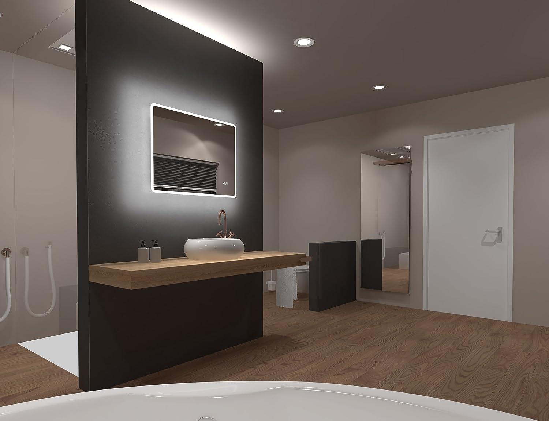 Miroir de salle de bains /à DEL Talos King avec /éclairage blanc chaud 120x60 cm lumi/ères taill/ées de haut en bas