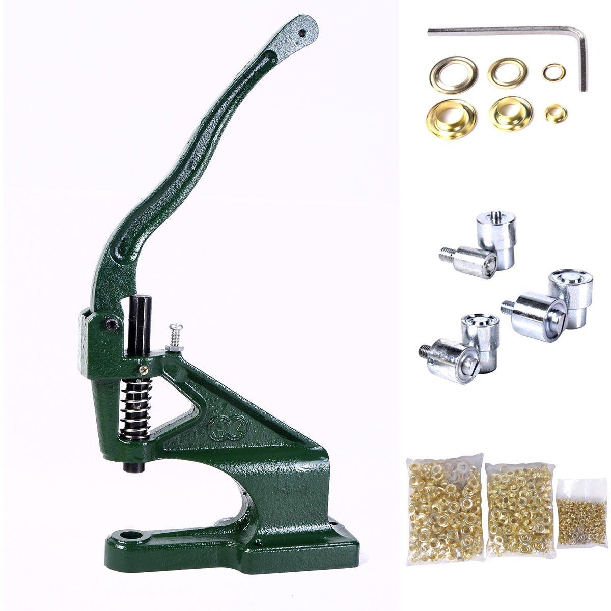 New Grommet Machine 3 Die (#0 #2 #4) & 900 Grommets Eyelet Hand Press Tool