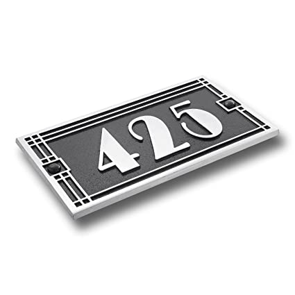 amazon com house number address plaque art deco line style cast