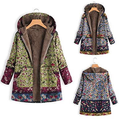 Womens Winter Jackets Outwear Floral Print Hooded Pockets Vintage Oversize Coats (4, Blue)