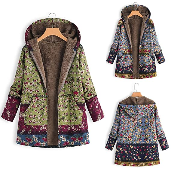 Amazon.com: Womens Winter Jackets Outwear Floral Print ...