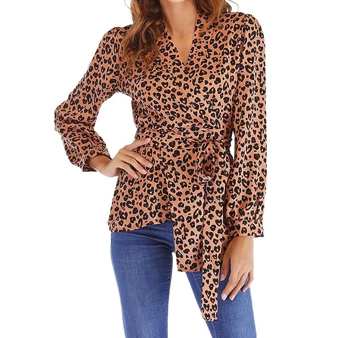 Estampado de Leopardo Camisetas de Manga Larga para Mujer Blusa para Mujer Camisetas Mujer Camisas Mujer Tops Tallas Grandes Mujer: Amazon.es: Ropa y ...