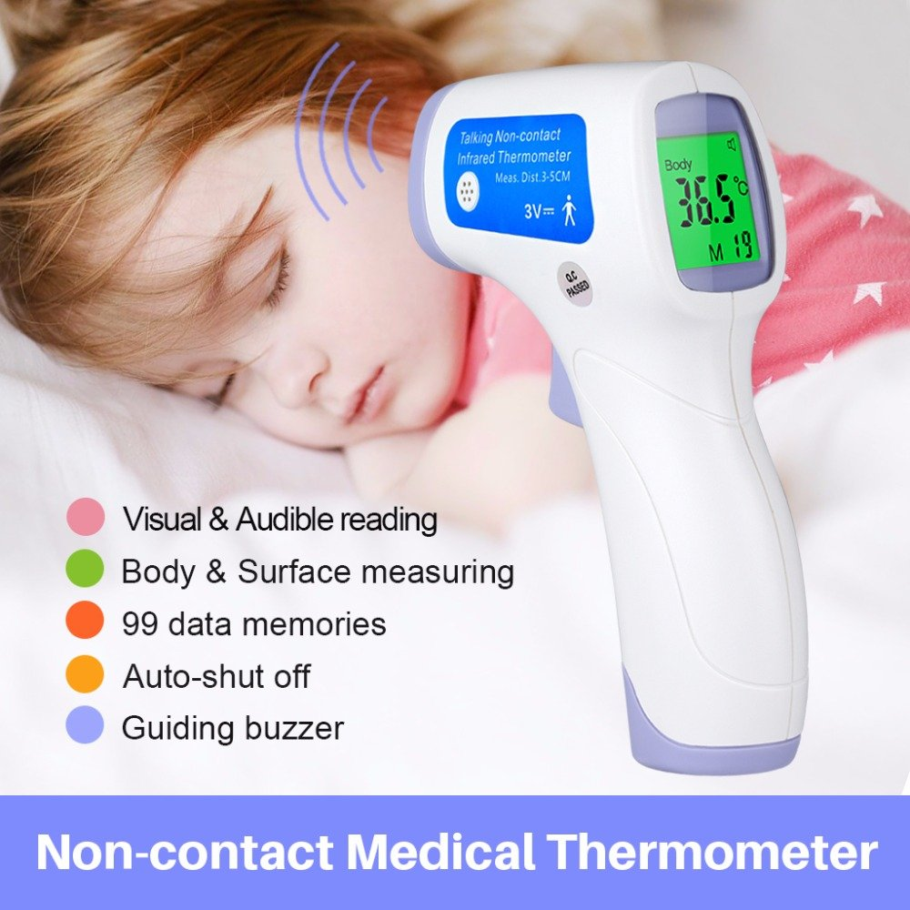 Baby Forehead Thermometer with Voice Reading.Digital Infrared Non-Contact Suitable for Baby, Toddlers and Adults And Object with Instant Results (L)