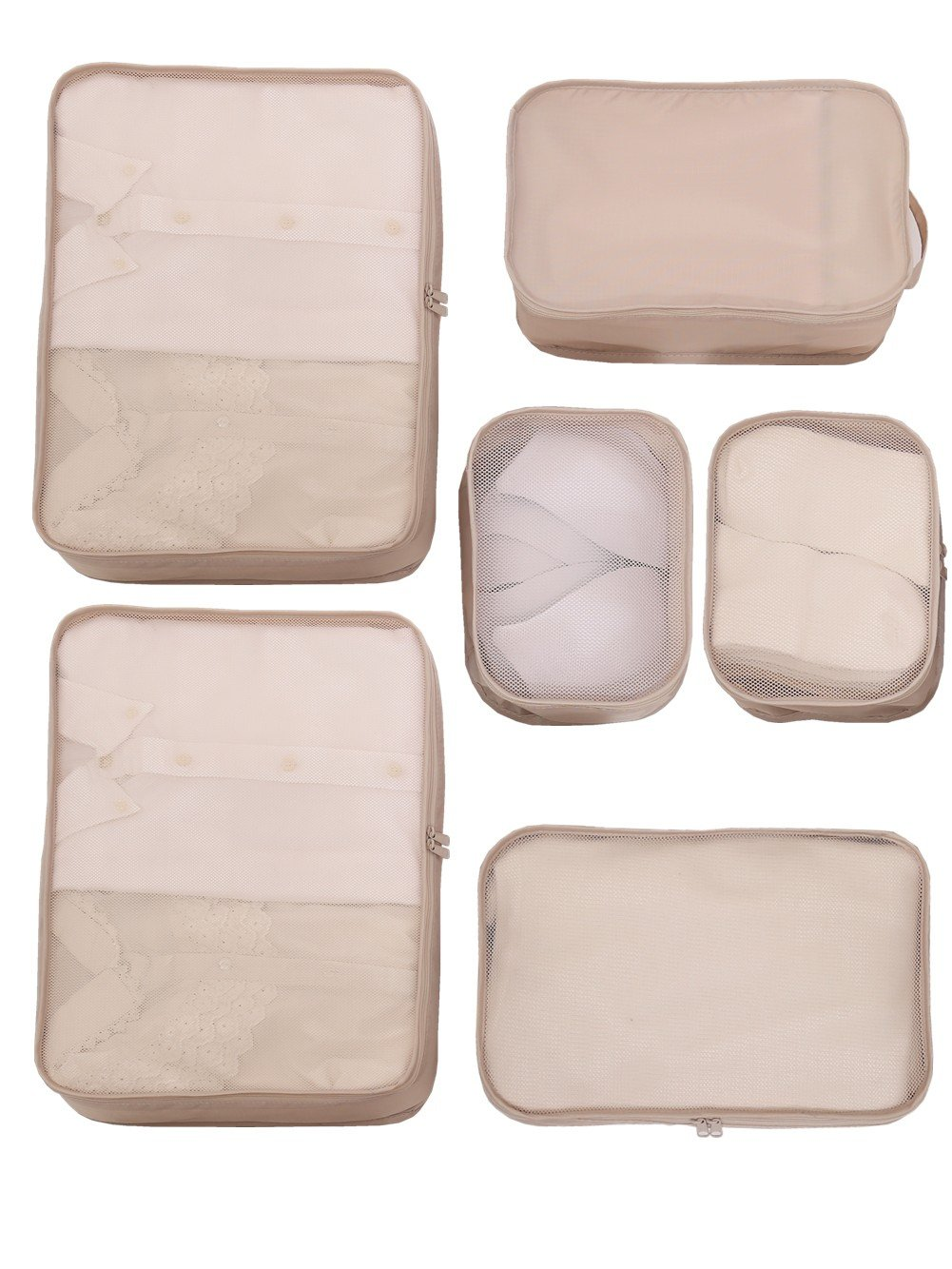 JJ POWER Lightweight Travel Packing Cubes -Multi function, Durable 6 Piece (Cream) by JJ POWER