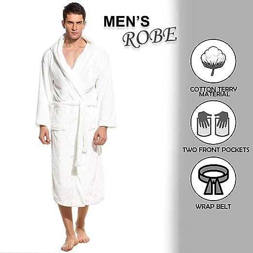 100/% algod/ón egipcio Albornoz con capucha Albornoz con capucha para hombre y mujer ducha spa Ropa de noche toalla de rizo Perfecto para gimnasio