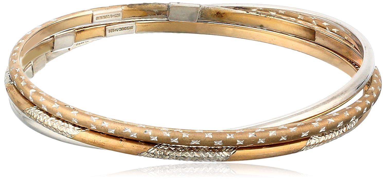 10k Gold-Bonded Sterling Silver Two-Tone Interlocking Bangle Bracelets
