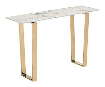 Incroyable Zuo Modern 100654 Atlas Console Table, Stone U0026 Gold, Rectangular Faux Marble  Top,