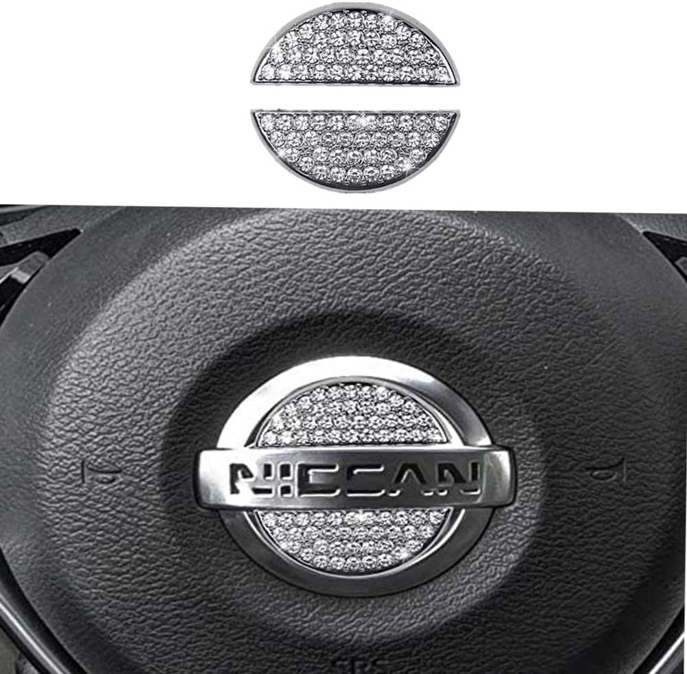 Silver Steering Wheel Bling Crystal Emblem for Nissan Shiny Accessories Parts Logo Sticker Badge Decals Covers Interior Decorations