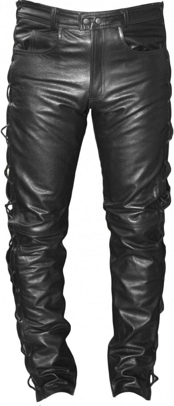 Pantaloni da Moto in Pelle con Lateralmente Lato Lacci 56 Nero German Wear