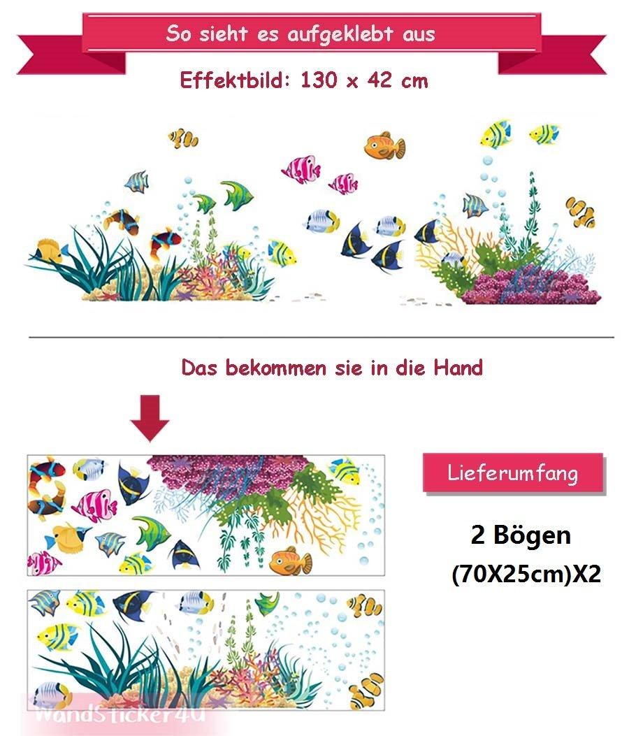 Under the Sea the World is Full of Colour Fish Sea Aquarium Water Bowl Fish Bathroom Window Decorative Sticker Wall Sticker Wall STICKER4U Wall Tattoo//Sticker