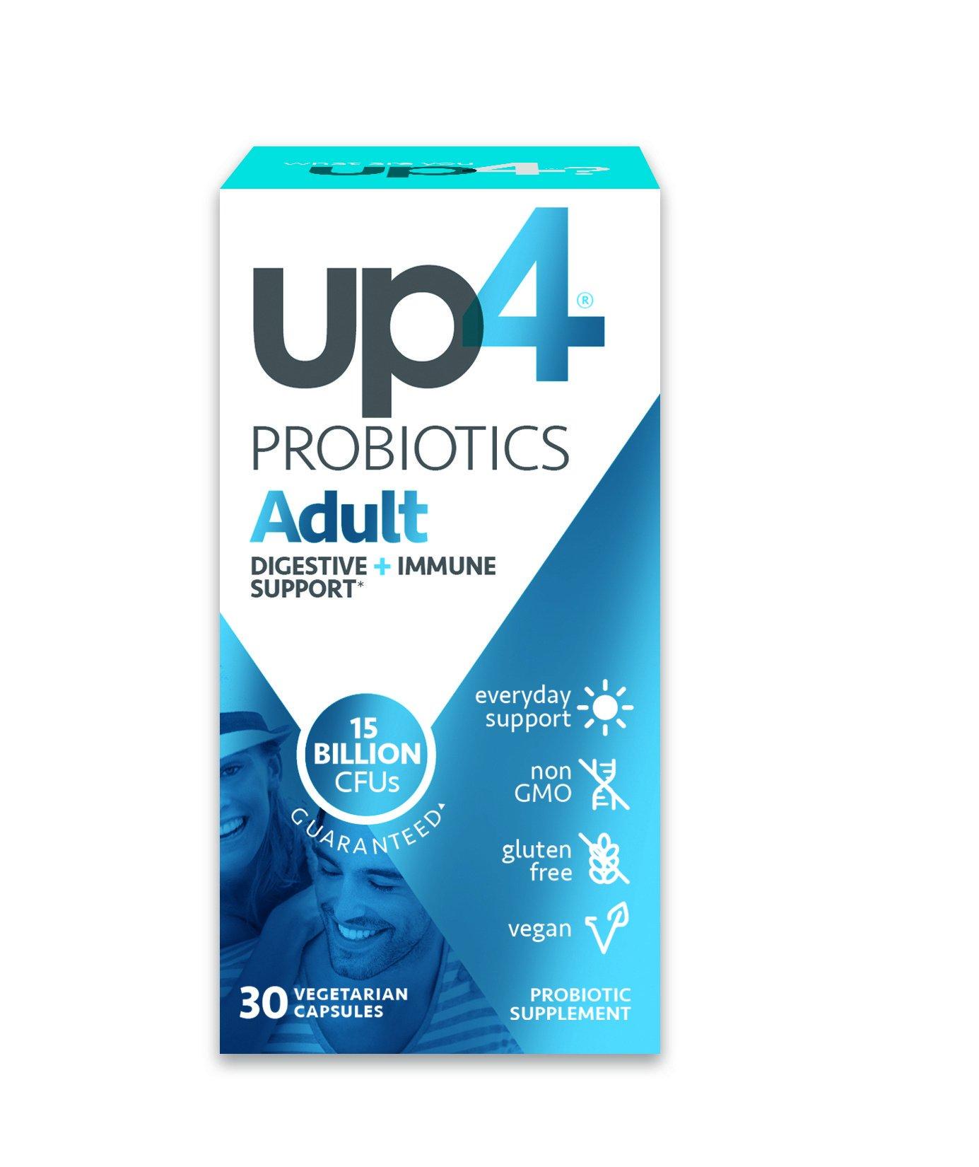 up4 Adult Probiotic Supplement | Digestive + Immune Support | 15 Billion CFU Guaranteed | Everyday Support | Non-GMO, Gluten Free, Vegan | 30 Vegetarian Capsules