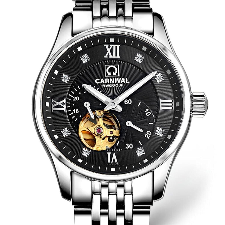 jianianhua Business Herren Stahl Armband Wasserdicht Automatische self-wind Mechanische Uhr Armbanduhr – Silber