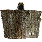 LOOGU Woodland Camouflage Ghillie Poncho for Hunting Wargames or Other Outdoor Activities