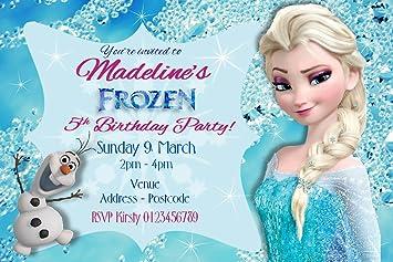 Personalised Frozen Birthday Invitations Glitter Finish X10