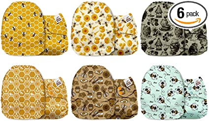 6 Pack with 6 One Size Microfiber Inserts Mama Koala One Size Baby Washable Reusable Pocket Cloth Diapers Woodland