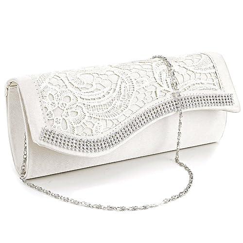 0bfc123c1c Floral Lace Stain Crystal Diamantes Evening Clutch Bag Wedding Purse Handbag  (Beige)